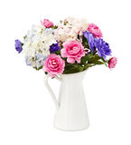 Colorful bouquet pink and blue flowers, isolated Royalty Free Stock Photo