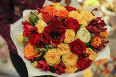 Colorful bouquet  with roses. flower composition. In hands Royalty Free Stock Photo