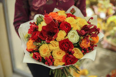 Colorful bouquet  with roses. flower composition. In hands Stock Photo