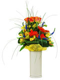 Colorful bouquet from roses and gerbera flowers isolated on whit Stock Photo