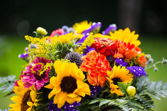 Colorful bouquet with sunflowers in the garden Royalty Free Stock Image