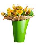 Colorful bouquet from tulips and gerbera flowers isolated on whi Royalty Free Stock Photo