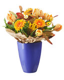 Colorful bouquet from tulips and gerbera flowers isolated on whi Stock Photos