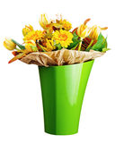 Colorful bouquet from tulips and gerbera flowers isolated on whi Royalty Free Stock Photos