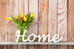 Colorful bouquet tulips at home Stock Photography