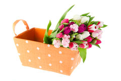 Colorful bouquet tulips in orange basket Stock Image