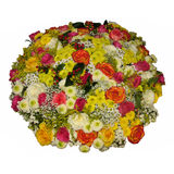 Colorful bouquet of various flowers isolated on white. Colorful and bright bouquet of various flowers (roses, chrysanthemum) isolated on white. Top view Stock Images