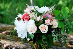 Colorful bouquet with white peony and pink roses Stock Photography