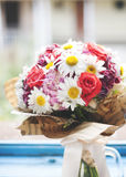 Colorful bouquet at the window. Closeup Royalty Free Stock Photos