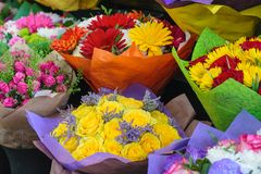 Colorful bouquets of flower in the shop. Colorful bouquets in the flower store stock photo