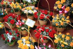 Colorful bouquets at a market Royalty Free Stock Photos