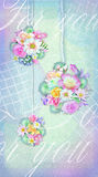Colorful bouquets of various flowers on a tender background. stock illustration