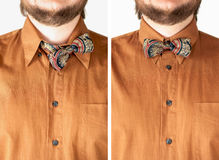 Colorful bow tie with brown shirt closeup. Royalty Free Stock Photos