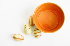 Colorful bowl with painted Easter eggs Royalty Free Stock Photo