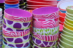 Colorful bowl in stack. Bowl in various different color in stack, shown as featured background and pattern with kitchen ware and environment Stock Image