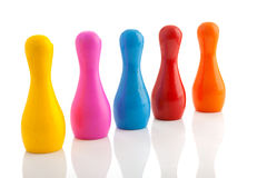 Colorful bowlin pins Royalty Free Stock Images