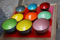Colorful bowls. Colorful empty ceramic bowls on a table Royalty Free Stock Image