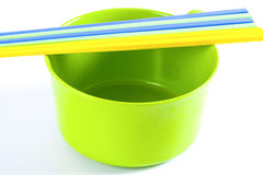 Colorful Bowls with the chopsticks Stock Image