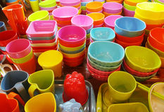 Colorful bowls and cups Royalty Free Stock Images