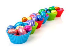 Colorful bowls with easter eggs Royalty Free Stock Photos