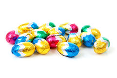Colorful bowls with easter eggs Royalty Free Stock Images