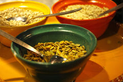 Healthy breakfast. Colorful bowls filled with healthy cereal Stock Photography