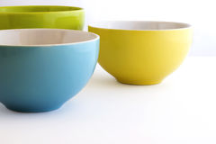Colorful bowls. Green, Blue, Yellow Royalty Free Stock Photography