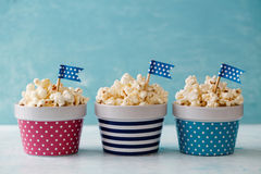 Colorful Bowls of Popcorn. Stock Image