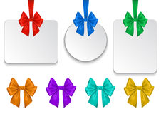 Colorful bows with blank labels Stock Images