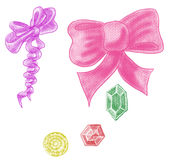 Colorful bows and crystals drawn by pencil and acrylic paint Stock Images