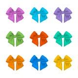 Colorful bows set. Satin ribbon vector illustration on white. Royalty Free Stock Photo