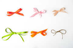Colorful bows on the white background Stock Photo