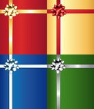 Colorful bows on wrap gifts set. Royalty Free Stock Photo