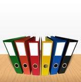 Colorful box file folder on desk background. Illustration of Colorful box file folder on desk background Stock Photography