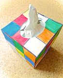 Colorful box with napkins Stock Photos
