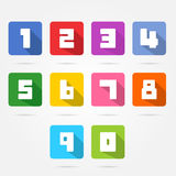 Colorful box numbers set. Royalty Free Stock Photo