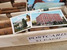 Colorful box of old postcards royalty free stock image