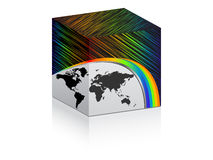 Colorful box with world map Royalty Free Stock Photos