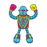 Colorful Boxer Robot. Full shot of robot character Stock Photography