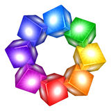 Colorful boxes. Circle of colorful boxes - 3D render Stock Photography