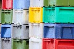 Colorful boxes for fish Stock Photo