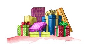 Colorful boxes with gifts for the holiday. Vector illustration shows colorful boxes with gifts for the holiday Stock Photo