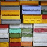 Colorful boxes plastic crates containers for fish Stock Photo