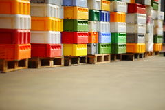 Colorful boxes plastic crates containers for fish Stock Photography