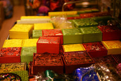 Colorful boxes sold as souvenir merchandise in Chinatown market Stock Photography