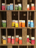 Colorful boxes of tea-related snacks displayed in a tea shop in Xiamen city, China Stock Photo