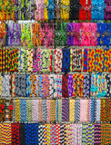 Colorful bracelets. Fabric bracelets at a craft fair - colors and patterns Royalty Free Stock Photo