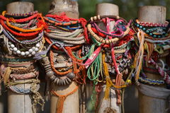 Colorful Bracelets on a Fence in Cambodia Royalty Free Stock Photo