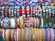 Colorful bracelets and necklaces with beads Royalty Free Stock Image