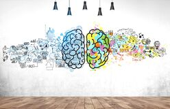 Colorful brain sketch in concrete wall room